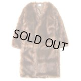 EFILEVOL Fur Coat Brown